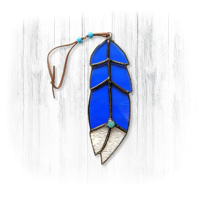 Blue Stained Glass Feather Suncatcher