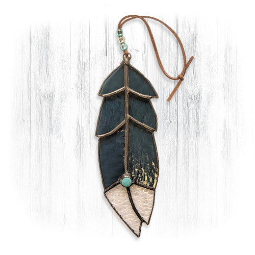 Teal Stained Glass Feather Suncatcher