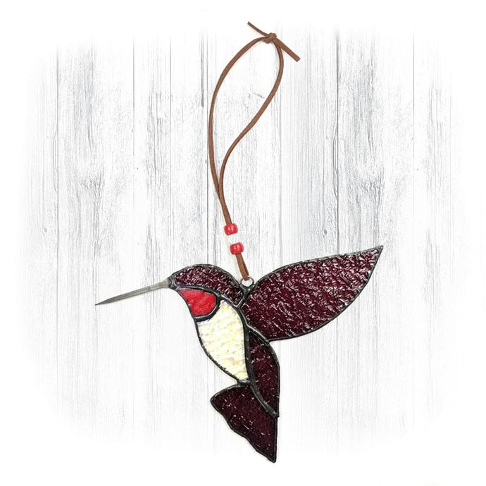 Dark Red Stained Glass Hummingbird Suncatcher