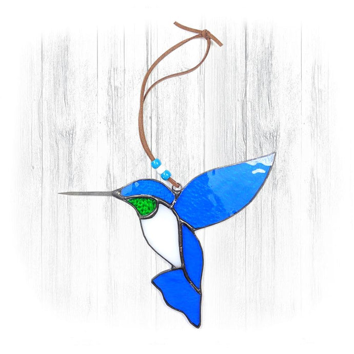 Blue & Green Stained Glass Hummingbird Suncatcher