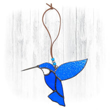 Load image into Gallery viewer, Blue Stained Glass Hummingbird Suncatcher