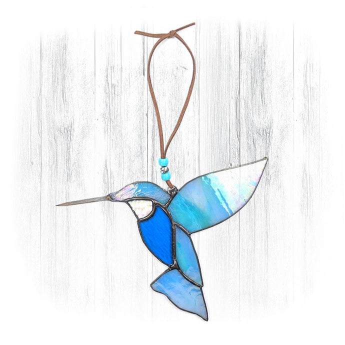 Teal Stained Glass Hummingbird Suncatcher