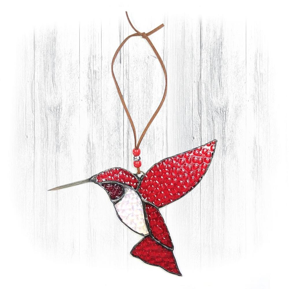 Red Stained Glass Hummingbird Suncatcher