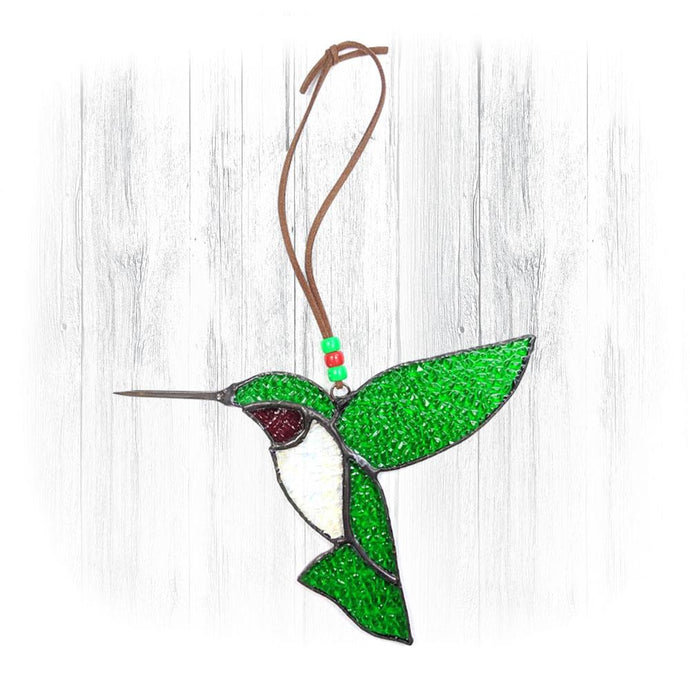 Green & Red Stained Glass Hummingbird Suncatcher