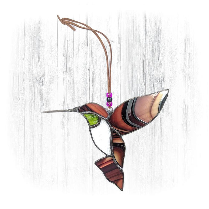 Brown & Green Stained Glass Hummingbird Suncatcher
