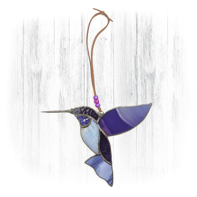 Purple Stained Glass Hummingbird Suncatcher