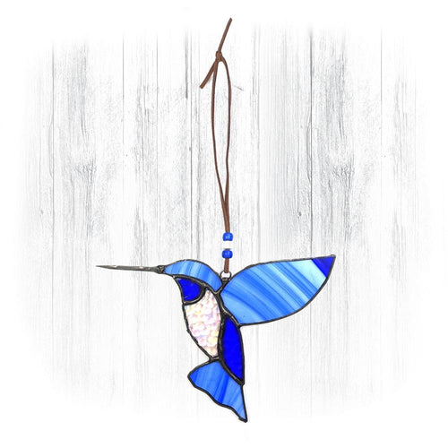 Clear & Blue Stained Glass Hummingbird Suncatcher