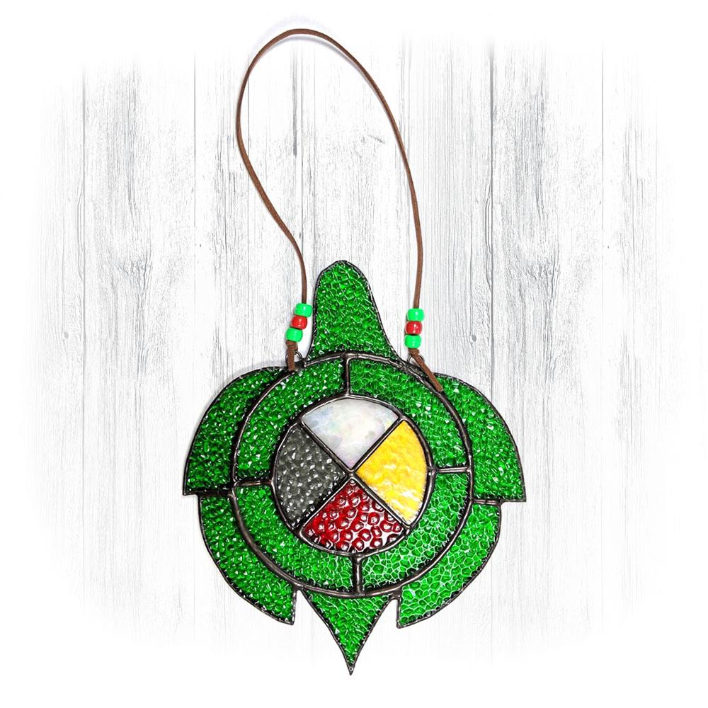 Green Stained Glass Turtle Suncatcher With Medicine Wheel