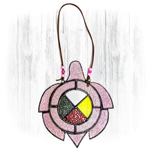 Load image into Gallery viewer, Pink Stained Glass Turtle Suncatcher With Medicine Wheel
