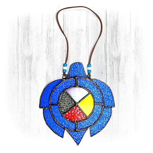 Blue Stained Glass Turtle Suncatcher With Medicine Wheel