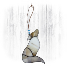 Load image into Gallery viewer, White Stained Glass Wolf Suncatcher