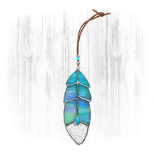 Load image into Gallery viewer, Iridescent Blue Stained Glass Feather Suncatcher