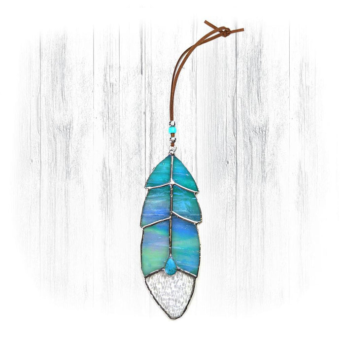 Iridescent Blue Stained Glass Feather Suncatcher