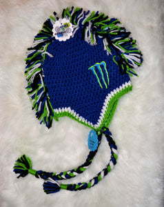 Blue Monster Mohawk Beanie - Monster Winter Hat - Monster Energy Hat - Craft N Crazee