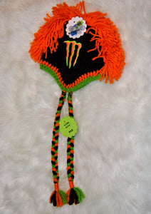 Orange Monster Mohawk Beanie - Monster Winter Hat - Monster Energy Hat - Craft N Crazee