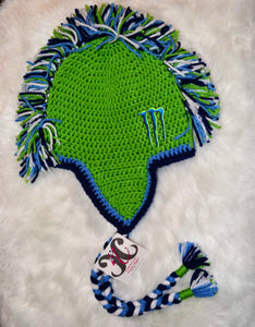 Green Monster Mohawk Beanie - Monster Winter Hat - Monster Energy Hat - Craft N Crazee