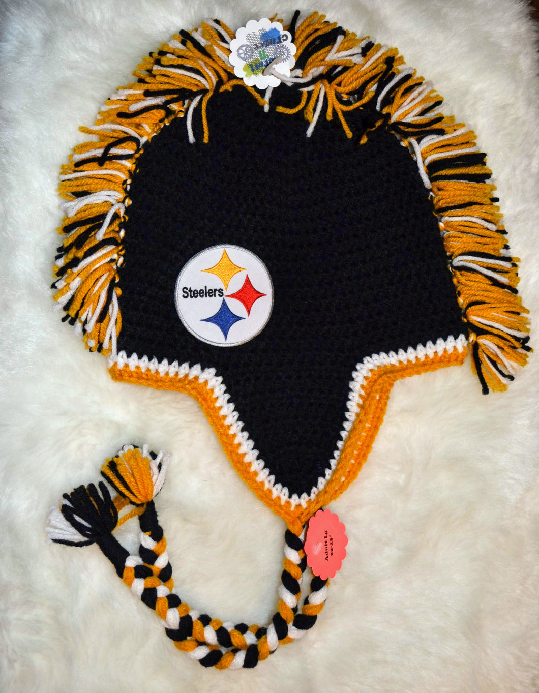 Steelers Mohawk Beanie - Steelers Winter Hat - Pittsburgh Steelers Hat - Craft N Crazee