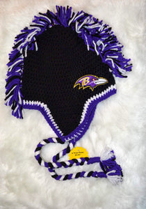 Ravens Mohawk Beanie - Ravens Winter Hat - Baltimore Ravens Hat - Craft N Crazee