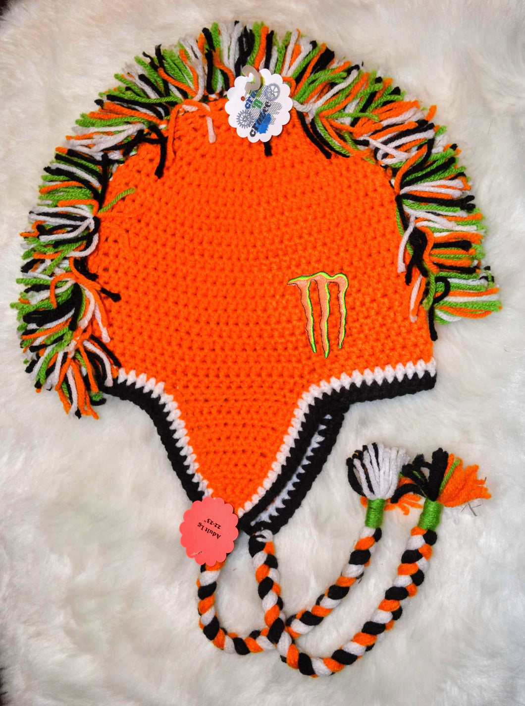 Orange & Green Monster Mohawk Beanie - Monster Winter Hat - Monster Energy Hat - Craft N Crazee