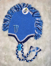 Load image into Gallery viewer, Lt Blue Monster Mohawk Beanie - Monster Winter Hat - Monster Energy Hat - Craft N Crazee