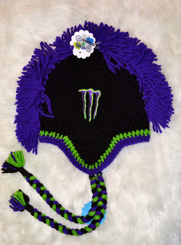 Purple Monster Mohawk Beanie - Monster Winter Hat - Monster Energy Hat - Craft N Crazee