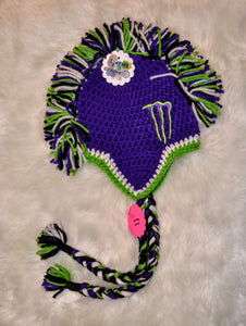 Purple & Green Monster Mohawk Beanie - Monster Winter Hat - Monster Energy Hat - Craft N Crazee