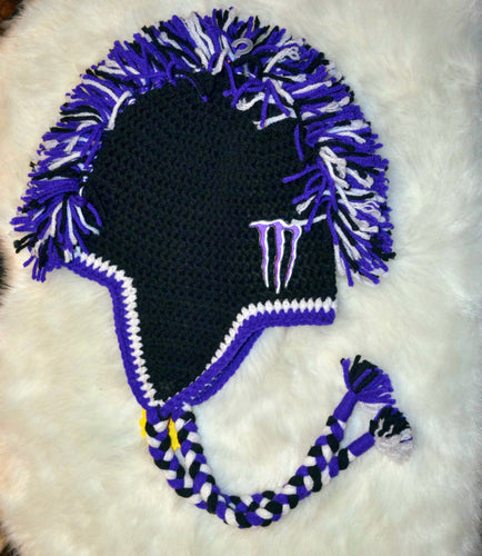 Purple & White Monster Mohawk Beanie - Monster Winter Hat - Monster Energy Hat - Craft N Crazee