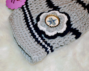 Cowboys Brimmed Beanie - Cowboys Hat - Dallas Cowboys Girl Beanie - Craft N Crazee
