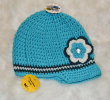Load image into Gallery viewer, Robyn Blue Brimmed Beanie - Brimmed Hat - Brimmed Girl Beanie - Craft N Crazee