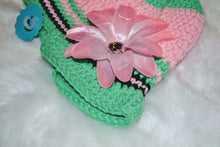 Load image into Gallery viewer, Pink & Green Brimmed Beanie - Brimmed Hat - Brimmed Girl Beanie - Craft N Crazee