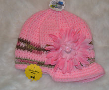 Load image into Gallery viewer, Pink & Camo Brimmed Beanie - Brimmed Hat - Brimmed Girl Beanie - Craft N Crazee