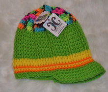 Load image into Gallery viewer, Green & Colors Brimmed Beanie - Brimmed Hat - Brimmed Girl Beanie - Craft N Crazee