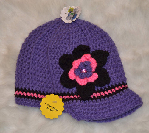 Purple & Pink Brimmed Beanie - Brimmed Hat - Brimmed Girl Beanie - Craft N Crazee