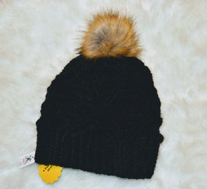 Black Royal Twist Beanie - Pompom Beanie - Crochet Winter Hat - Craft N Crazee
