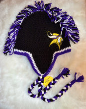 Load image into Gallery viewer, Vikings Mohawk Beanie - Vikings Winter Hat - NFL Vikings Hat - Craft N Crazee