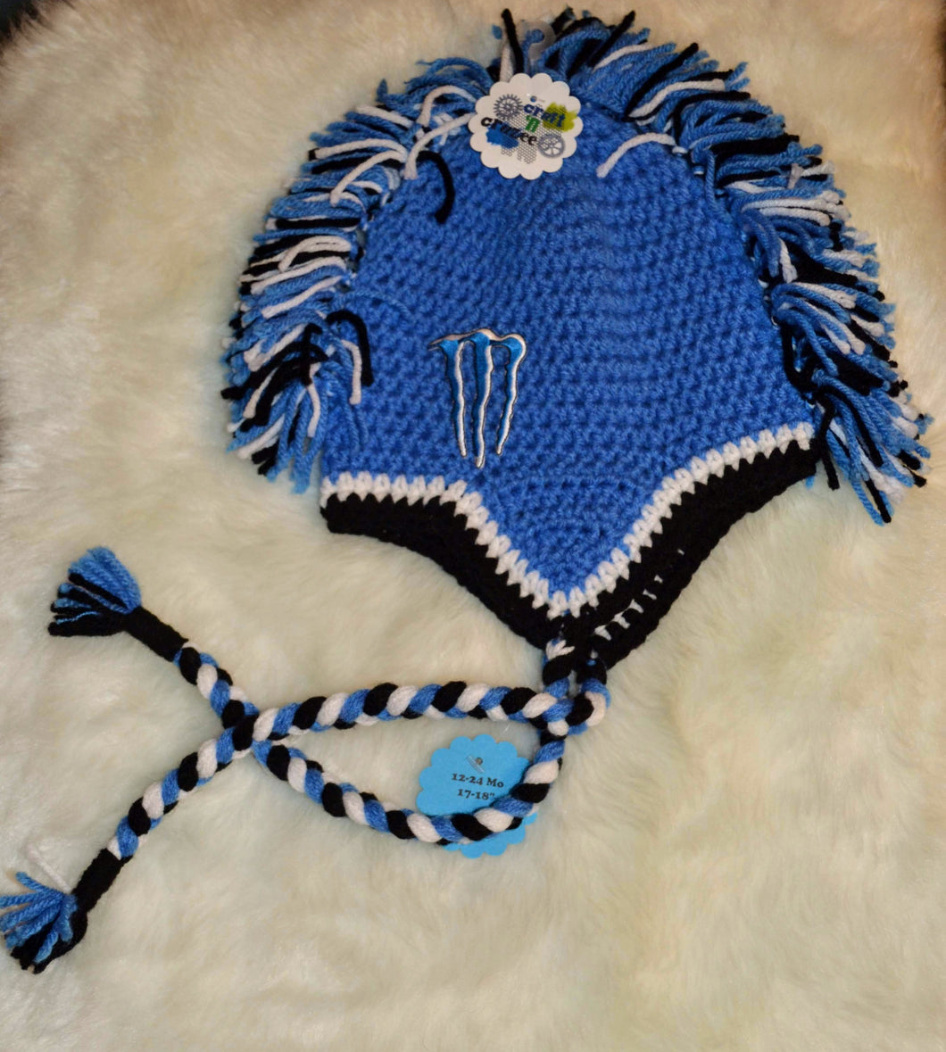 Blue Monster Mohawk Beanie - Size 12-24 Months  - Monster Energy Hat - Craft N Crazee