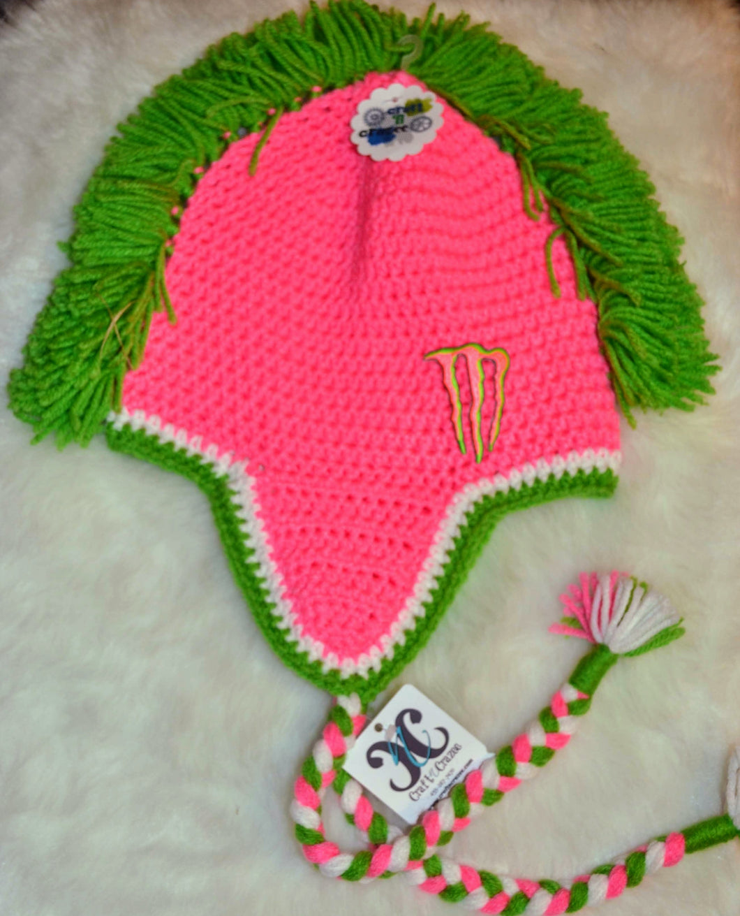Bright Pink Monster Mohawk Beanie - Monster Winter Hat - Monster Energy Hat - Craft N Crazee