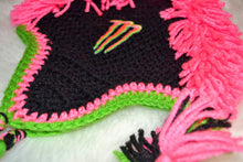 Load image into Gallery viewer, Black and Pink Monster Mohawk Beanie - Size 6-12 Months - Monster Energy Hat - Craft N Crazee