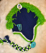 Load image into Gallery viewer, Navy & Green Monster Mohawk Beanie - Monster Winter Hat - Monster Energy Hat - Craft N Crazee