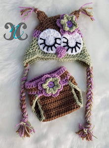 Baby Girl Owl Set - Crochet Owl Outfit - Baby Owl Photo Prop - Craft N Crazee