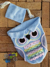 Load image into Gallery viewer, Baby Blue Owl Baby Cocoon - Owl Sleep Sack - Newborn Owl Blanket - Craft N Crazee