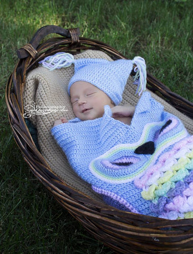 Baby Blue Owl Baby Cocoon - Owl Sleep Sack - Newborn Owl Blanket - Craft N Crazee