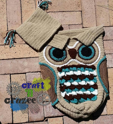 Tan Owl Baby Cocoon - Craft N Crazee