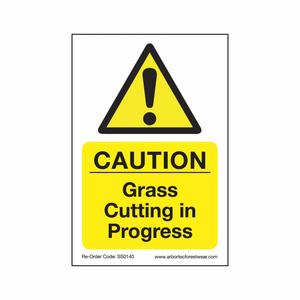"Treehog ""Caution Grass Cutting In Progress"" Sign"