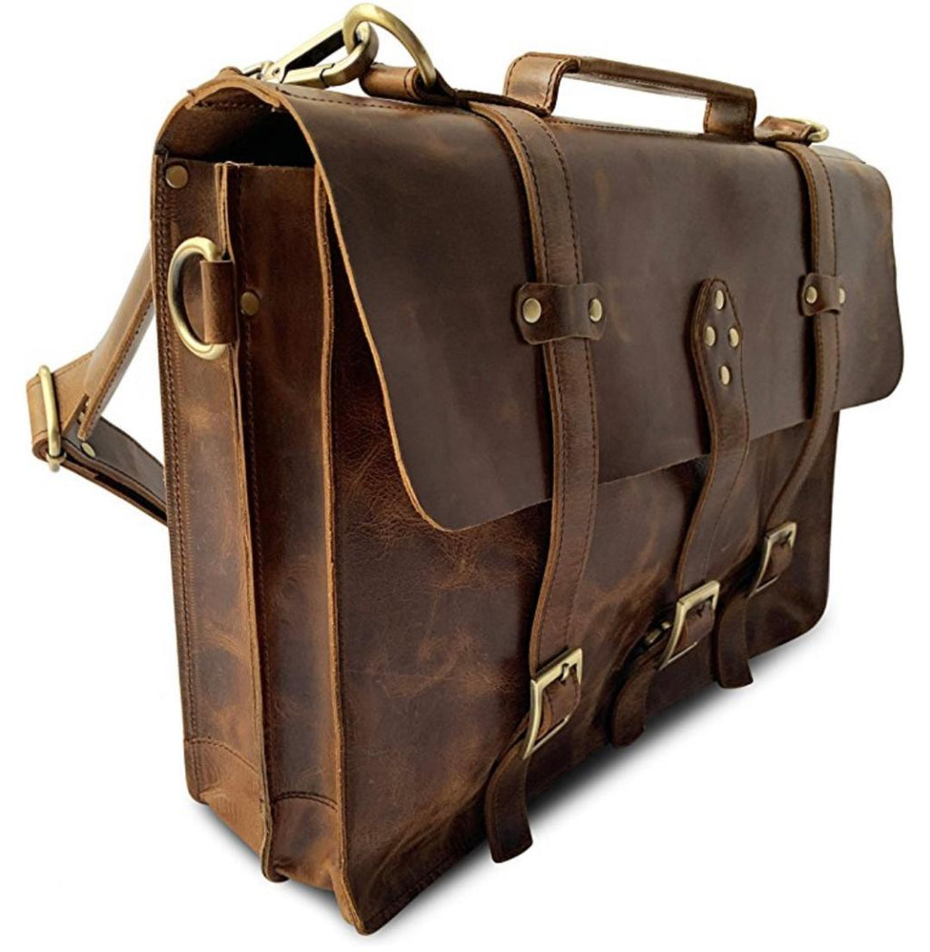 Leather Messenger Laptop Bag - Camstwo1