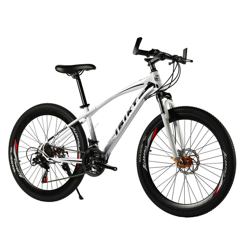 26inch Mountain Bike 21 Speed Carbon Steel Frame Dual Disc Brakes Bicycle