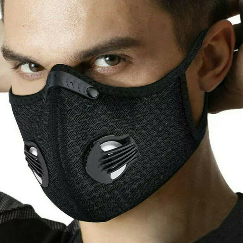 3Pcs Face Mask W/ Activated Carbon Filter Anti Pollution Mask Headwear