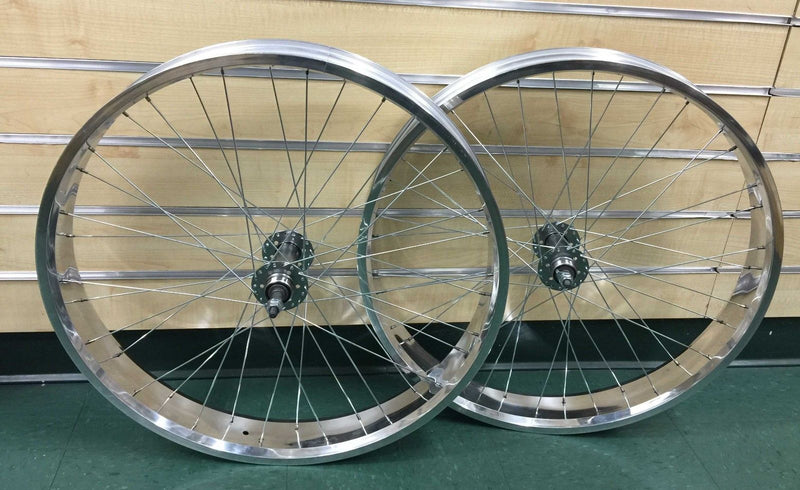"Fat 26"" x 4.0 Rear & Front Bicycle Wheel 7 speed 36 spokes for Disc Brake white"