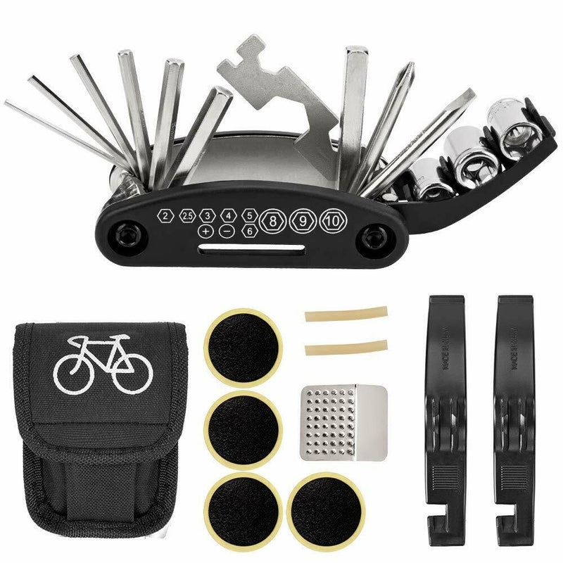 Bicycle Repair Tool Kit 16 in 1 Multifunction Bike Fix Tools with Portable Bag