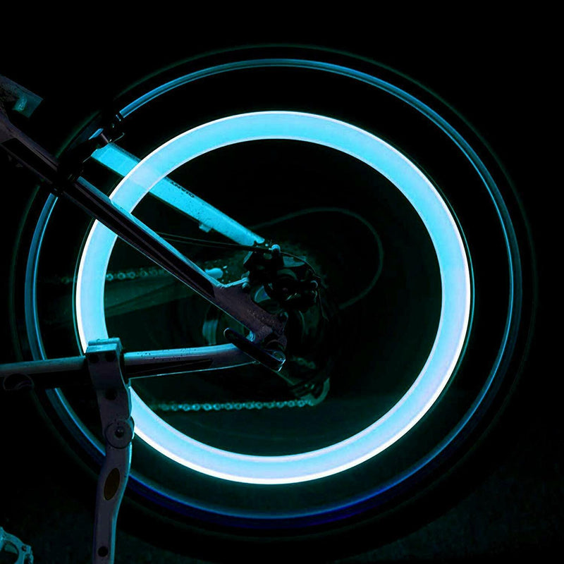 Bike Car Motorbike Neon LED Tire Tyre Wheel Spoke Valve Flash Light Dust Cap